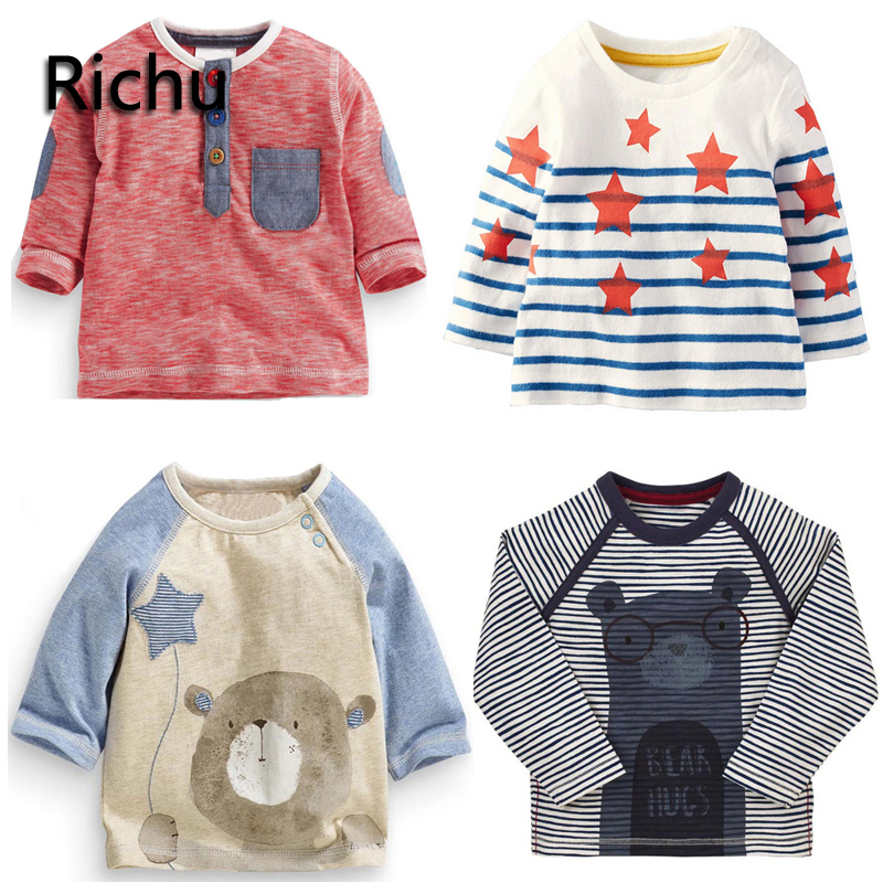 Richu 2017new fashion brand cotton high quality long sleeve boys t shirt baby kids 5 6 7yrs toddler tops tees t-shirts for girls