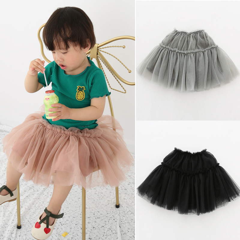 2018 Summer Dress Baby Girls Mesh Kilt Elastic Pink girls Dress Suitable with T-Shirt 0-4 Years Old