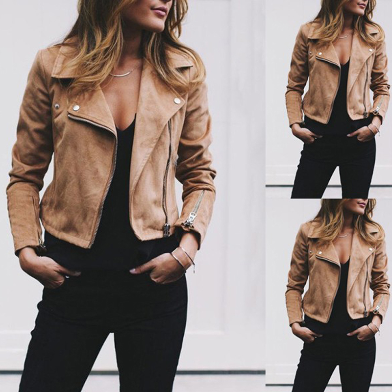 Coat women Ladies Suede Leather Jackets Zip Up Biker Female Casual Coats Woman Flight Coat 3