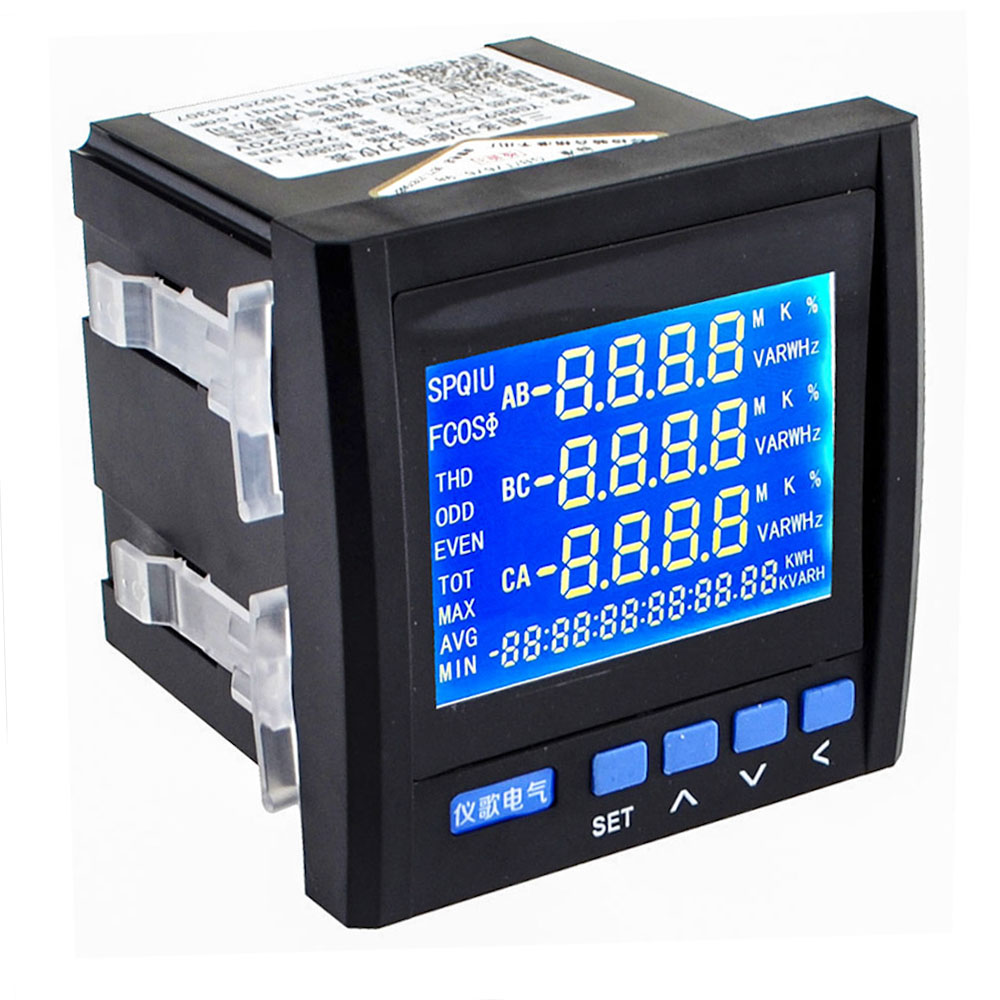 3p3l 3p4l Three Phase Digital Multifunction Meter Energy Accumulation Rs-485 V A Hz P Q Network Table Black/white Color 12003253