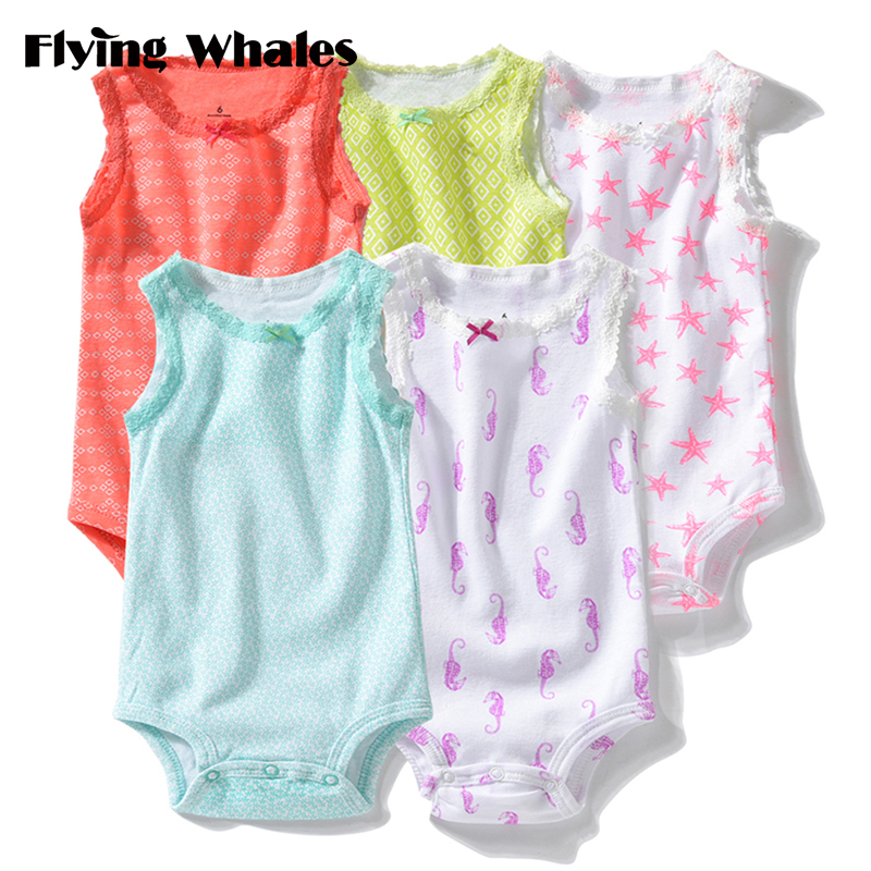 Baby Rompers Sleeveless Soft Cotton Newborn Baby Girls Clothes Infant Jumpsuits Clothing Set Body Toddler 5pcs/lot Roupas Bebes summer new baby rompers cotton baby girl clothes short sleeve pink big eye jumpsuits roupas bebes infant clothing