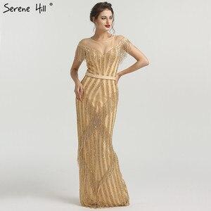 Image 1 - Новинка 2020 роскошные золотистые вечерние платья без рукавов с юбкой годе модные элегантные блестящие вечерние платья с бахромой и бисером LA6543