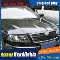 Auto part Style LED Head Lamp for Skoda octavia led headlights 06 09 for octavia drl H7 hid Bi Xenon Lens angel eye low beam