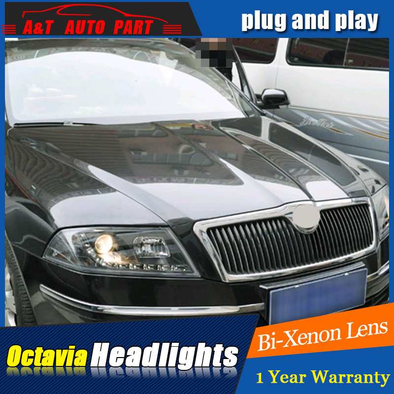 Auto part Style LED Head Lamp for Skoda octavia led headlights 06-09 for octavia drl H7 hid  Bi-Xenon Lens angel eye low beam auto clud style led head lamp for benz w163 ml320 ml280 ml350 ml430 led headlights signal led drl hid bi xenon lens low beam