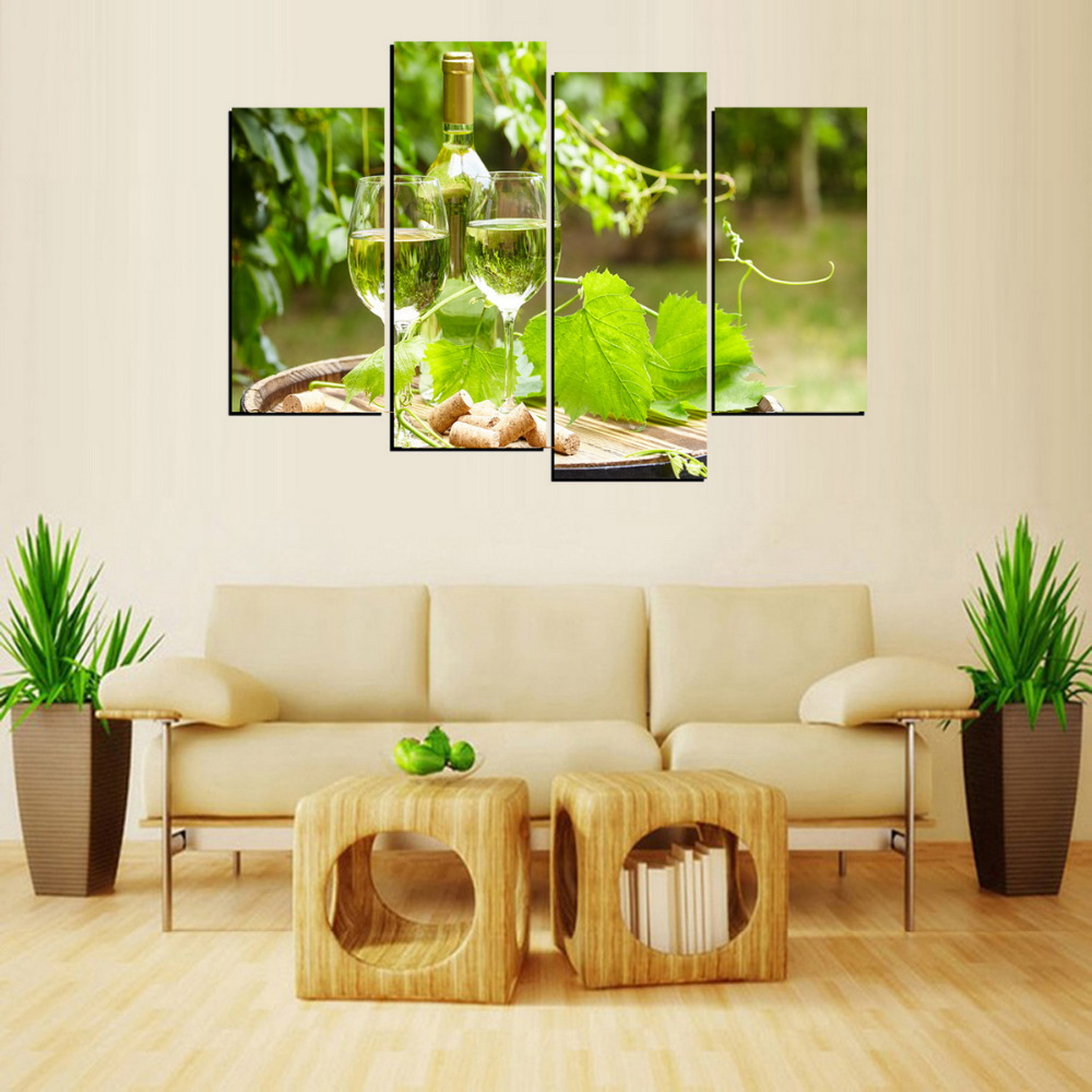 4 Panels Canvas Print Champagne And Grape Leaves Painting On Canvas ...