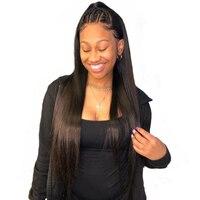360 Синтетические волосы на кружеве al парик 150 Плотность Прямо Синтетические волосы на кружеве натуральные волосы парики предварительно сор