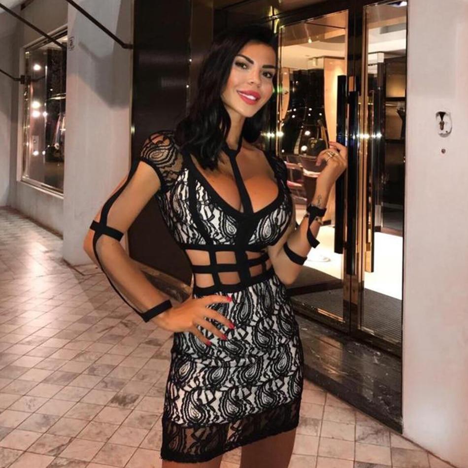 ADYCE 2018 New Summer Women Bandage Dress Vestidos Celebrity Party Dress  Short Sleeve Sexy Lace Hollow ... 2cc4c3671f66