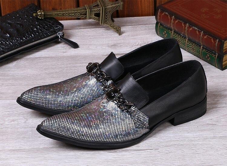 Em Sapato Homens Dos Mens As Glitter Cravado Para Preto Deslizamento Cadeias Sapatos De Picture Noiva Dura Sapatas Choudory Vestido Couro Prata w18UqBS