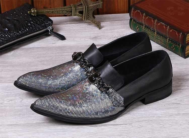 Choudory Zwarte spiked Instappers Zilver Glitter Mens Slip Op Jurk Trouwschoenen Voor Mannen Kettingen Heren Lederen schoen duurt