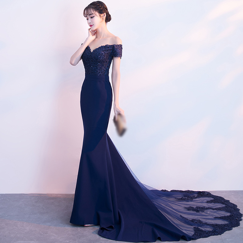 Plus Sizes Evening Dresses Pretty Elegant Boat Neck Beads Navy Blue Chiffon Formal Evening Gown Party