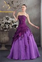 Женское кружевное бальное платье bejoy фиолетовое с аппликацией