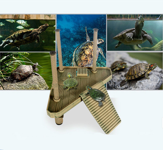 NEW 1 PC Aquarium Ornaments Reptile Small Turtle S 18.5*15cm Frog Pier Floating Basking Platform with Ramp Ladder