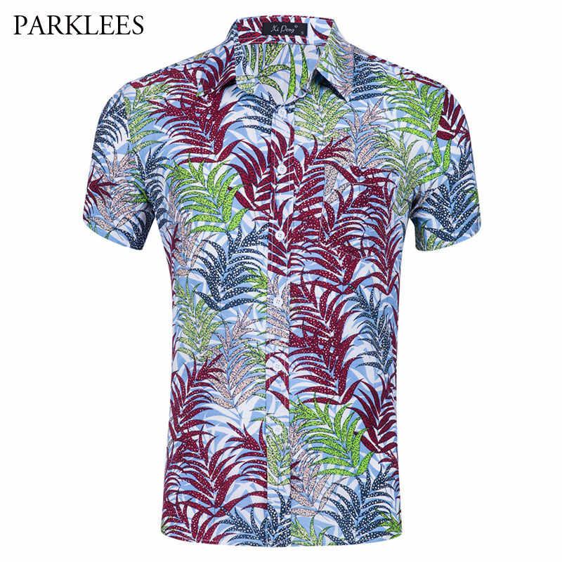Летняя мода Для мужчин Гавайский футболка с цветочным принтом 2018 Марка Slim Fit Изделие из хлопка с короткими рукавами Пляжные рубашки Повседневное вечерние праздник Aloha Camisas