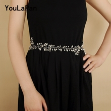 YouLaPan SH34 wedding rhinestone belt for a dress brides woman party belts bridal accessories Silver