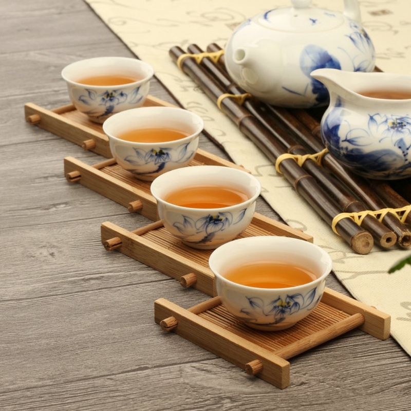 Solid Wood Tea Tray Drainage Cup Teapot Mat Gongfu Tea Table Serving Plate Tea Trays Teaware4