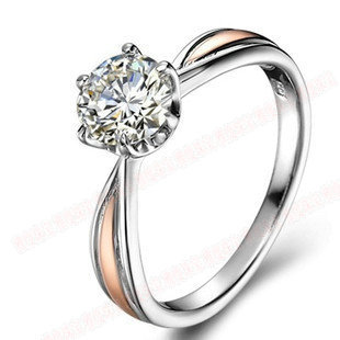 0.8CT Classic 6Prongs Golden Setting Synthetic Diamond Engagement Ring Women  925 Sterling Silver Jewelry Platinum