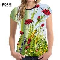 FORUDESIGNS 2017 New Arrival Women Tshirt Short Sleeves Flower Rose Meple Left 3d Print Female Fashion