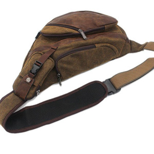 Image 4 - Men Canvas Sling Chest Day Back Pack Bag Travel Big Capacity Retro Cross Body Single Rucksack Shoulder Messenger Triangle Bag