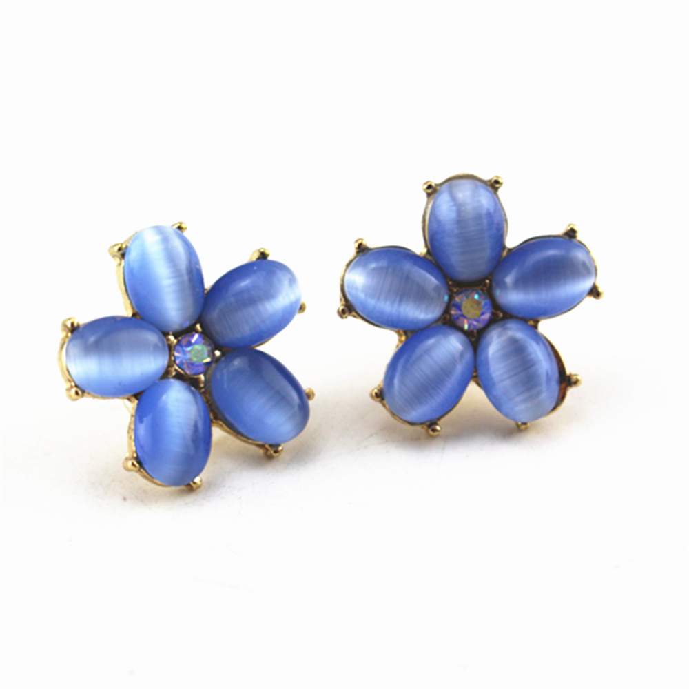 Free Shipping Fashion New Women Jewelry Sky Blue Stone Flowers Gold Zinc  Alloy Earrings Clothing Accessories Wholesale