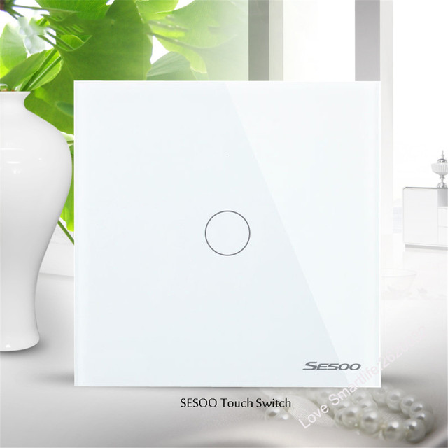 EU/UK Standard SESOO Touch Switch 1 Gang 1 Way,Crystal Glass Switch Panel,Single FireWire Touch Sensing Wall Light Switch