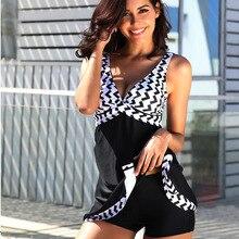Women's Swimdress Plus Size Tankini Two Piece Swimsuit Slimming Skirt Swimwear Tank Top with Boyshorts Bathing Suit Dress
