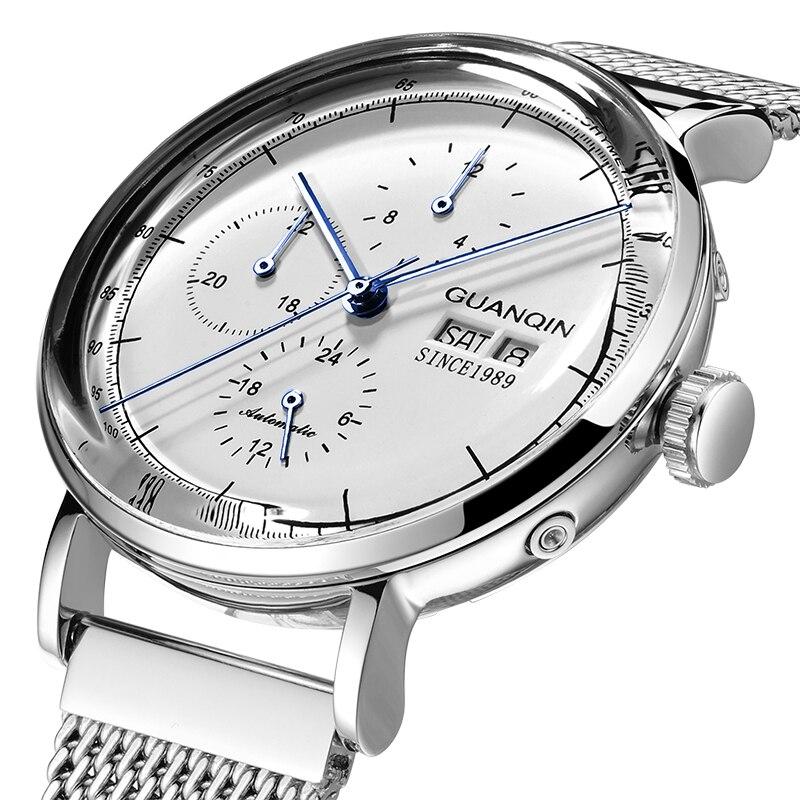 2019 GUANQIN Tourbillon Automatic waterproof Watch Men Skeleton Wristwatch Relogio Masculino Mechanical 3D Curve Clock Men