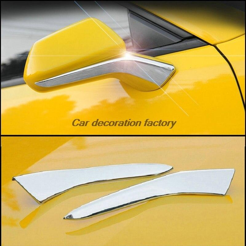 2pcs For Chevrolet Chevy Camaro 2016-2017 Sixth ABS chrome Rearview mirror pedestal trim decoration cover car accessories auto chrome camaro letters for 1968 1969 camaro emblem badge sticker