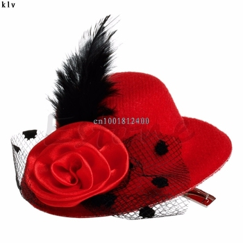 1pc Hat New Womens Girls Mini Feather Rose Top Hat Cap Lace Fascinator Hair Clip