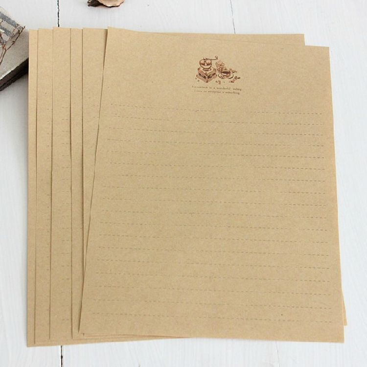 In The Old Days Letter Pad Letter Paper [ Vintage Coffee Grinder Series ] Kraft Paper Letterheads 8*5 Sheets