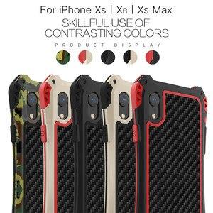 Image 2 - درع حقيبة لهاتف أي فون Xs Xs Max Xr X إطار معدني فاخر سيليكون الوفير الهجين للصدمات 360 حماية كاملة غطاء من ألياف الكربون