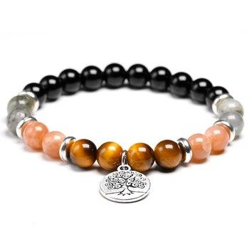 Bracelet en pierre d oeil de tigre Onyx noir brillant naturel avec perles de soleil Labradorite