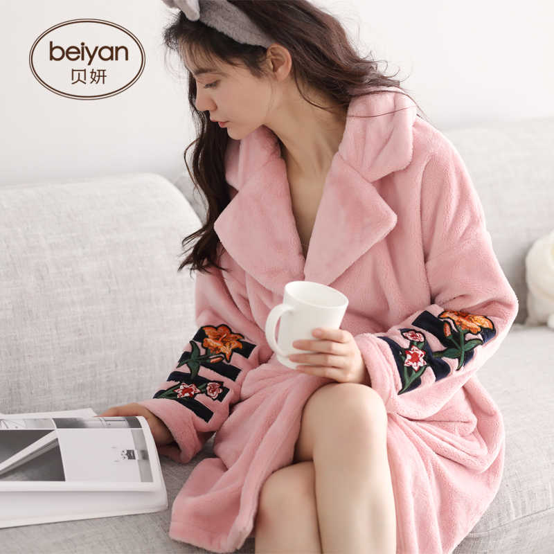 7a9627d0ae Ms BeiYan winter coral fleece pajamas han edition cardigan woman long robe  with thick warm flannel
