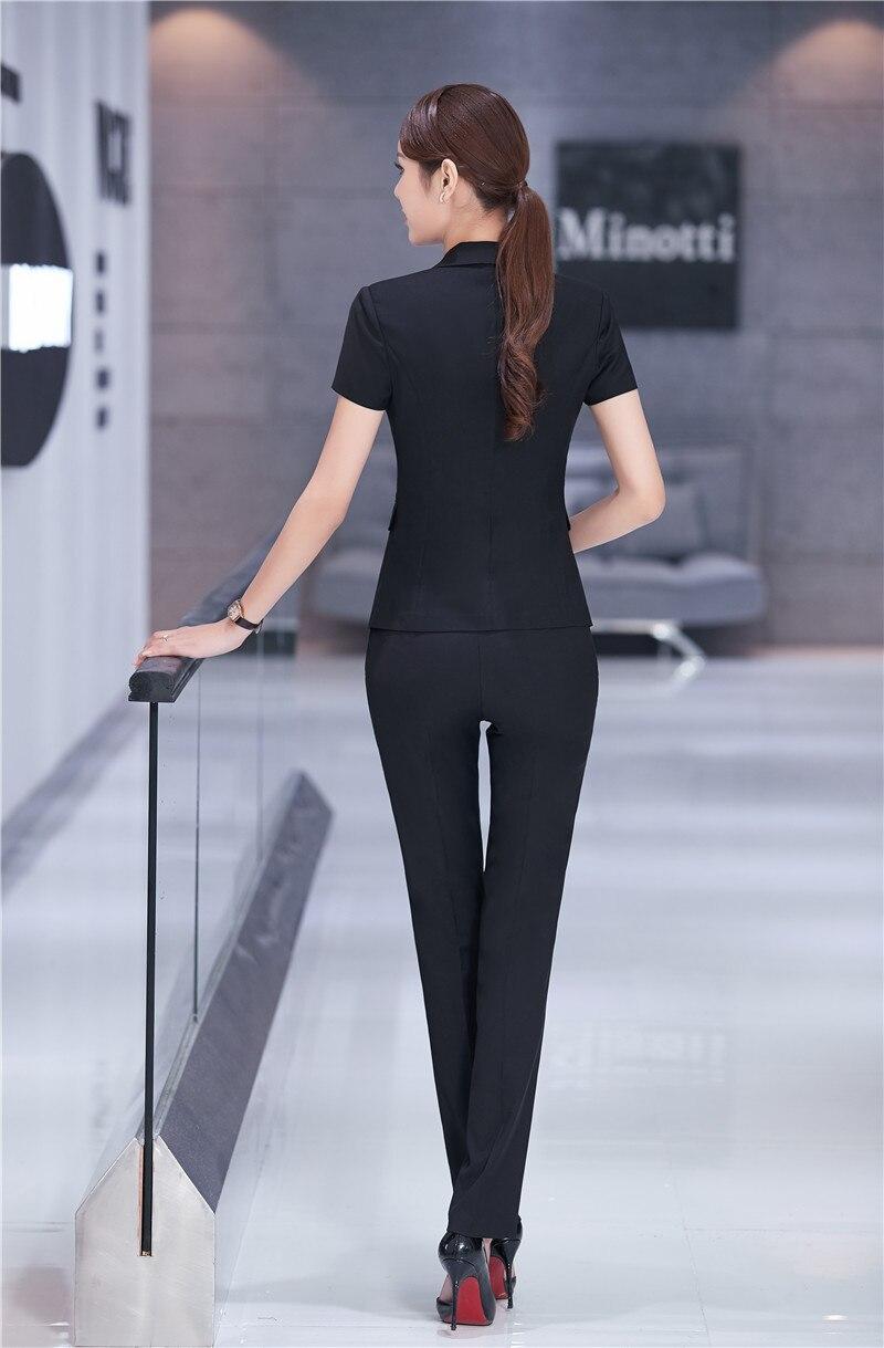 Bureau Courtes Costumes Pantalons Formelle Dames Manches Ensembles Slim À Professionnel S D'été Femmes Fit Vestes D'affaires dark Pantalon Black Blue Avec Et 4xl 6gqEwOzn
