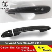 Car styling Carbon Fiber Auto Door Handle Knob Exterior Trim Covers For Mazda Axela ATENZA CX 5 CX 4 For Mazda 3 Sticker