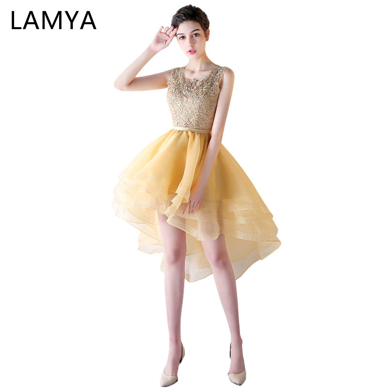 LAMYA Gold Lace High Low   Prom     Dress   Princess Elegant Evening Party   Dresses   Short Front Long Back Gown 2019 vestido de festa