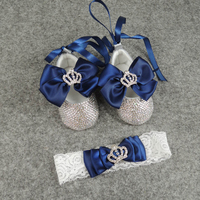 custom sparkle bling handmade baby shoes new born soft sole crown bow rhinestone princess ribbon shoe headband BB31