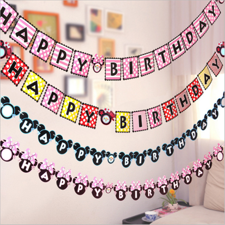 Glitter Paper Birthday Party Hanging Bunting Banner Flag: Aliexpress.com : Buy 1 SET Glitter Minnie Mickey Mouse
