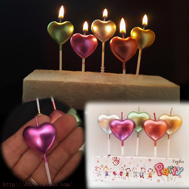 Metallic Paint Five Small Love Birthday Candle Gold Silver Purple