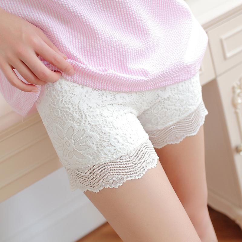 CHSDCSI Summer Shorts Women High Waist Elastic Lace Shorts Black White Shorts Eyelash Hot Sale New Ladies Mini Casual Short
