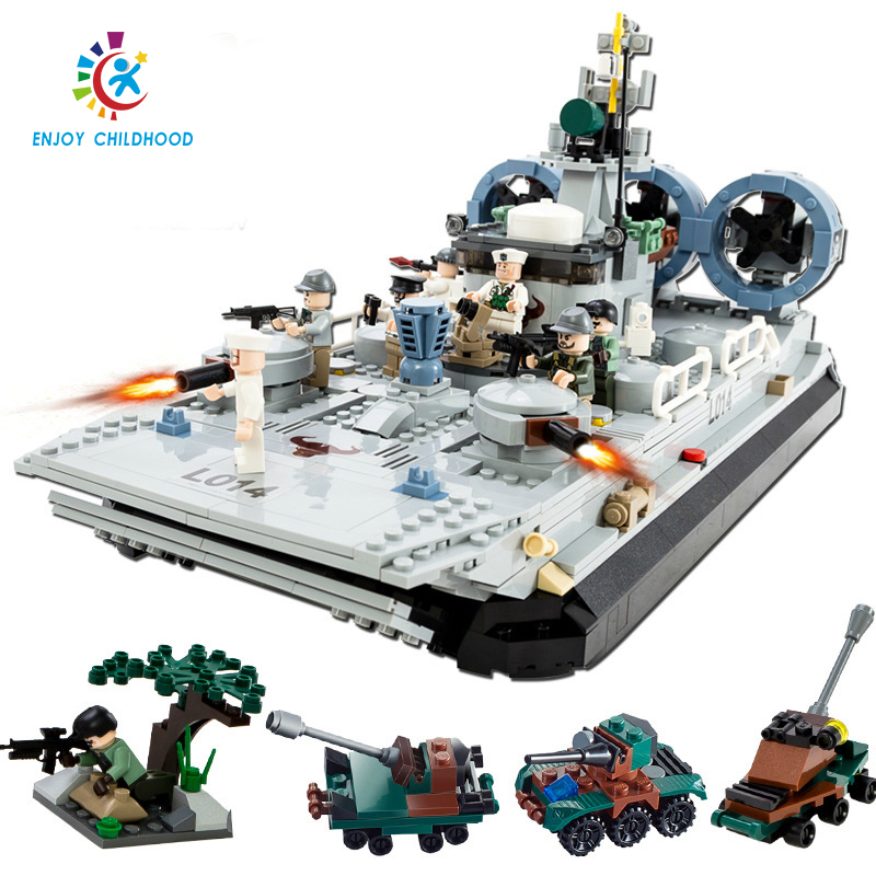 Military Marine Cops Hovercraft Blocks 928pcs Bricks Building Block Toys Compatible Birthday Gift 8027 Legoings Jouet Enfant loz super mario kids pencil case building blocks building bricks toys school utensil brinquedos juguetes menino jouet enfant