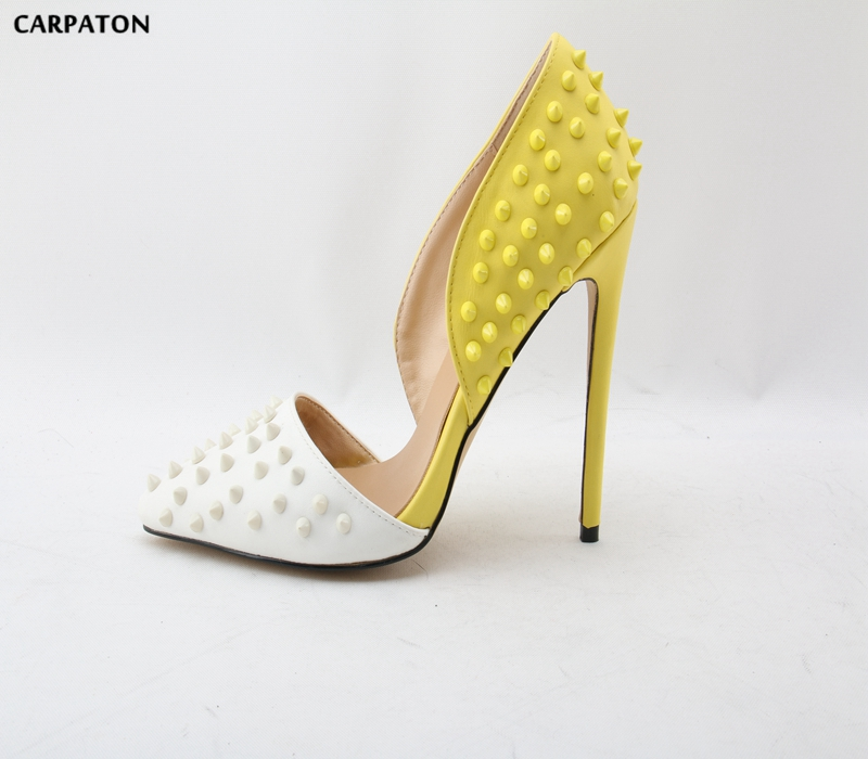 Carpaton 2018 Newest Women Yellow and White mosaic Fashion Pointed Toe Thin high heels shoes Girl Dating must haves