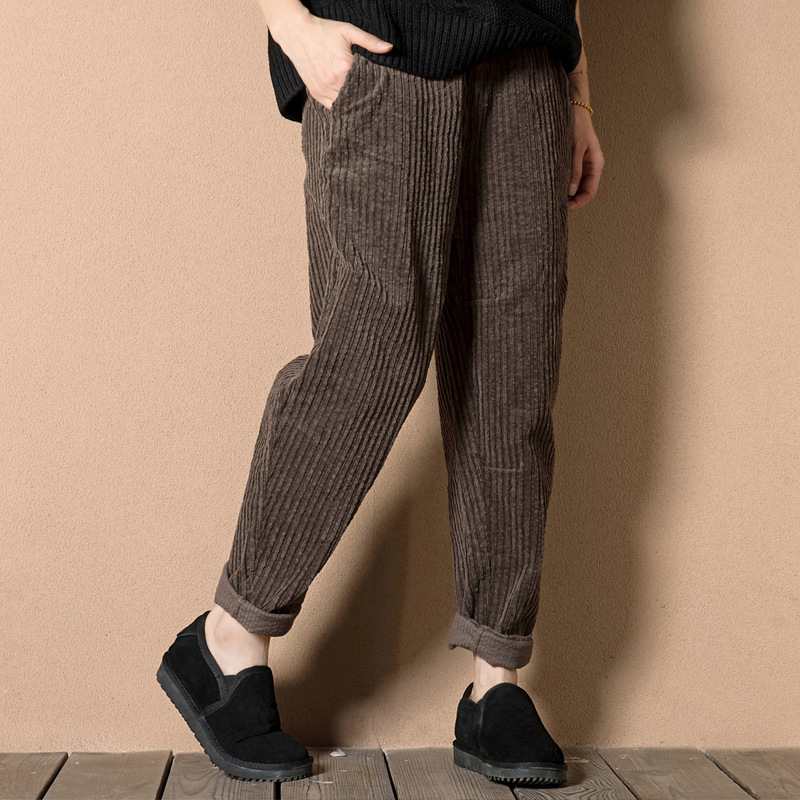 Liva girl Literature Restore Ancient Ways Easy Knicker 2019 Autumn Loaded With Thin Corduroy Pants Leisure Time Trousers