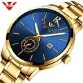 NIBOSI Relogio Masculino Relojes 2019 золотые часы мужские часы лучший бренд класса люкс спортивные кварцевые часы Бизнес водонепроницаемые наручные часы