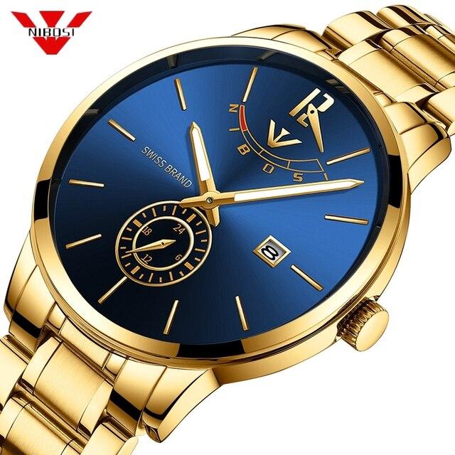 NIBOSI Relogio Masculino Relojes כחול זהב שעון Mens שעונים למעלה מותג יוקרה ספורט שעון קוורץ עסקים עמיד למים שעוני יד