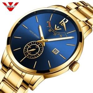 Image 1 - NIBOSI montre de Sport, étanche, pour hommes, Quartz, couleur bleu, doré, marque de luxe, pour lentreprise