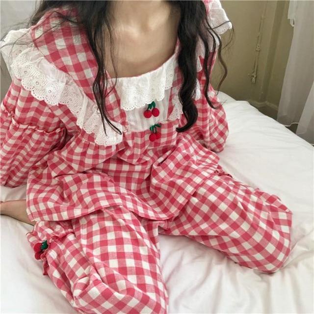 Pijamas de cuadros escoceses para mujer, ropa de dormir de algodón de princesa dulce, Sexy de encaje de manga larga, conjunto de 2 unidades para casa