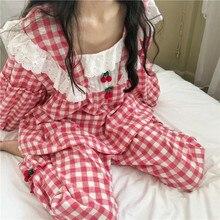 Plaid Pajamas Set Women Sweet Princess Cute Cotton Pyjamas Sexy Lace Full Sleeve Autumn 2Piece/Set Home Mom Sleepwear