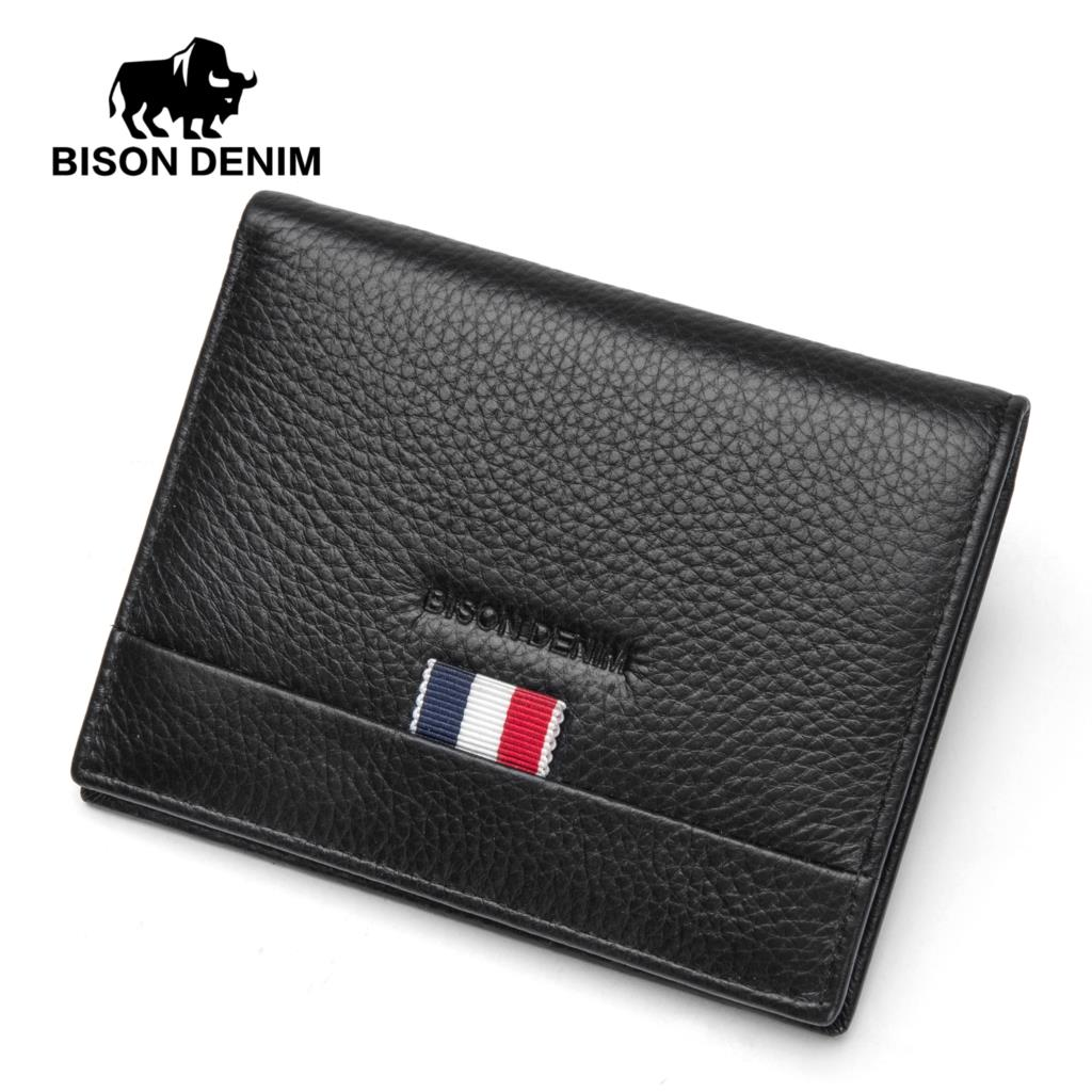 BISON DENIM Men Short Wallet Cow Leather Purse For Men Soft Card Two Cash Slots Casual Genuine Leather Wallets Male N4486