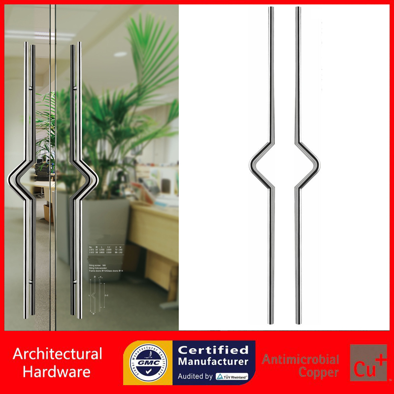 Entrance Door Pull Handle Made With High Grade Stainless Steel For Timber/glass/Metal Doors PA-134-38*1800mm 304 grade stainless steel black pull handle entrance door handles for wooden glass metal doors pa 135 38 800mm