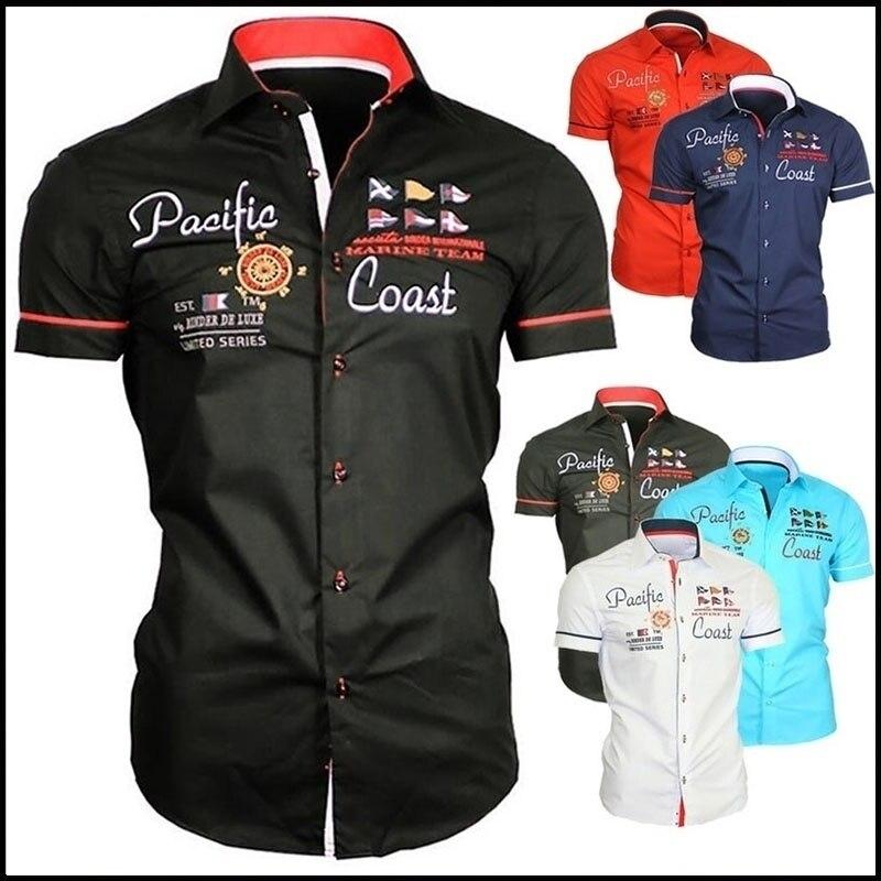 ZOGAA Brand 2019 New Summer Mens Dress Shirts Casual Streetwear Print Men Shirt Short Sleeve 6 Colors Shirts Size Plus S-3XL